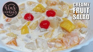Creamy Fruit Salad Recipe - Fruit Cream Dessert - 5 Minute Dessert Recipe - Hinz Cooking