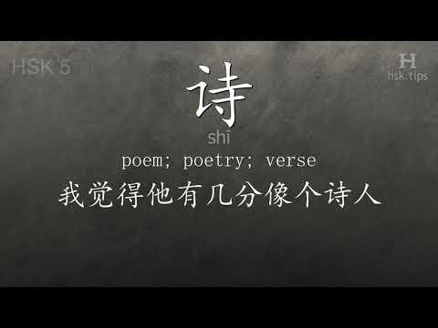 Chinese HSK 5 vocabulary 诗 (shī), ex.2, www.hsk.tips