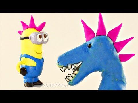 Blue Dinosaur Gets Mohawk Hair - Minions Play Doh Stop Motion Kids Video T-REX donut