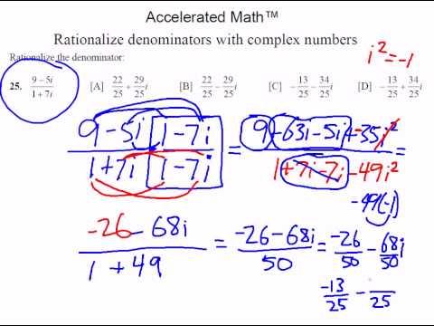 Rationalize Denominators With Complex Numbers