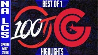 100 vs CG Highlights | NA LCS Week 9 Spring 2018 W9D1 | 100 Thieves vs Clutch Gaming Highlights
