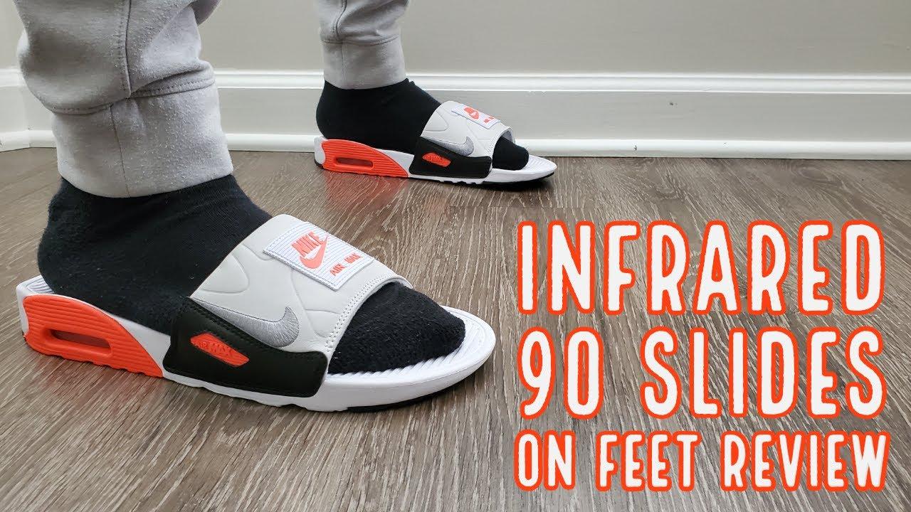 Nike Air Max 90 Slides Infrared On Feet Review (BQ4635 101)