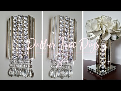 2 Unique DIYS using Dollar Tree Pic Frame - Glam Decor - Wall Sconce - Flower Vase / Candle Holder