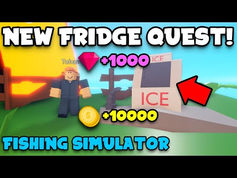 HOW TO DO THE FRIDGE QUEST IN FISHING SIMULATOR ROBLOX (4 Lost Parts) *FREE COINS AND GEMS*