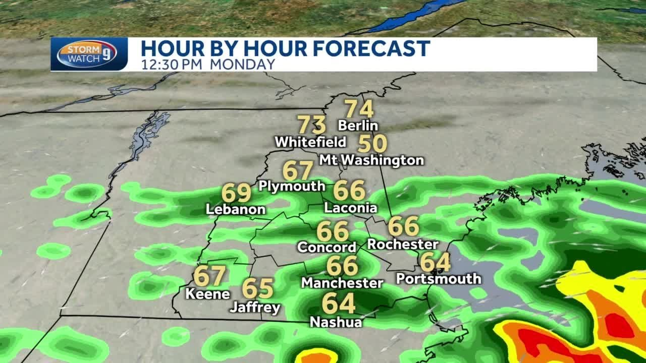 NH hourly timeline More heavy rain for southern NH