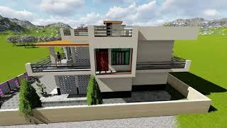 Punjab style 3D Kothi design. 3D एनीमेशन में देखें घर का नक्शा।