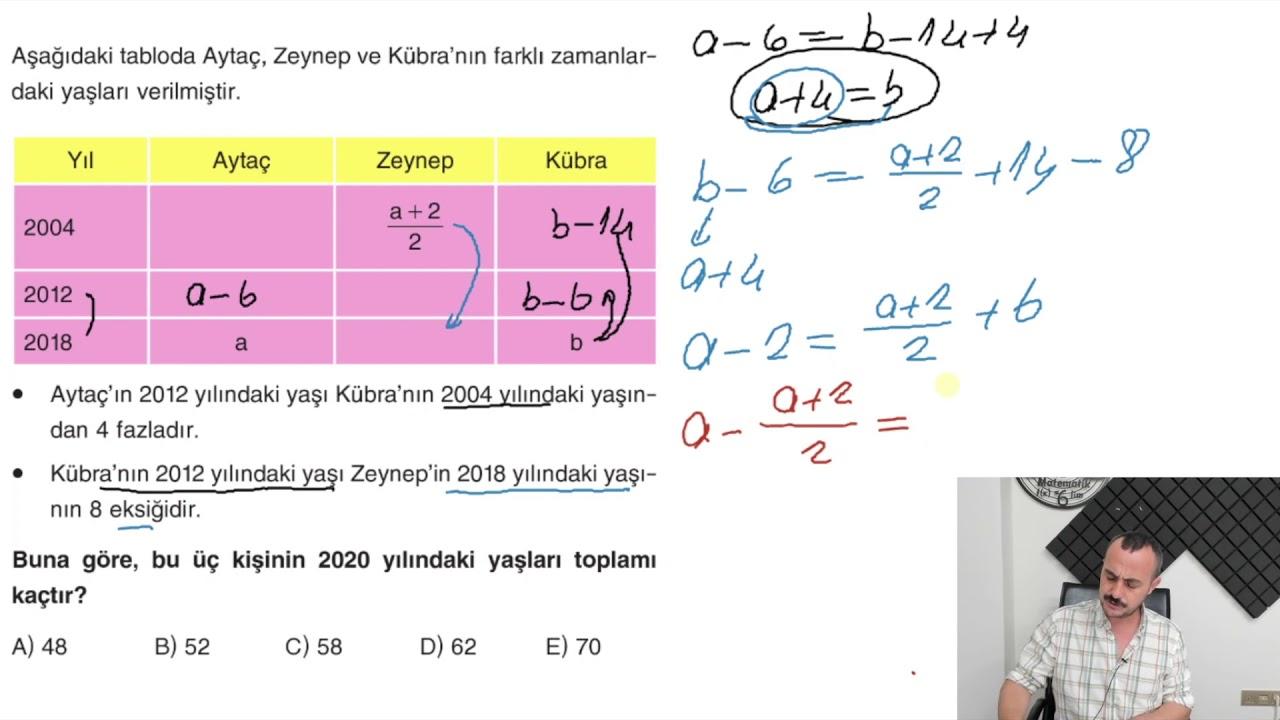 Sıra Yeni Nesilde YAŞ PROBLEMLERİ Test 3 Miray Yayınları TYT Soru Bankası