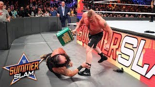 Brock Lesnar F-5s Braun Strowman & smashes him with his Money in the Bank briefcase: SummerSlam 2018
