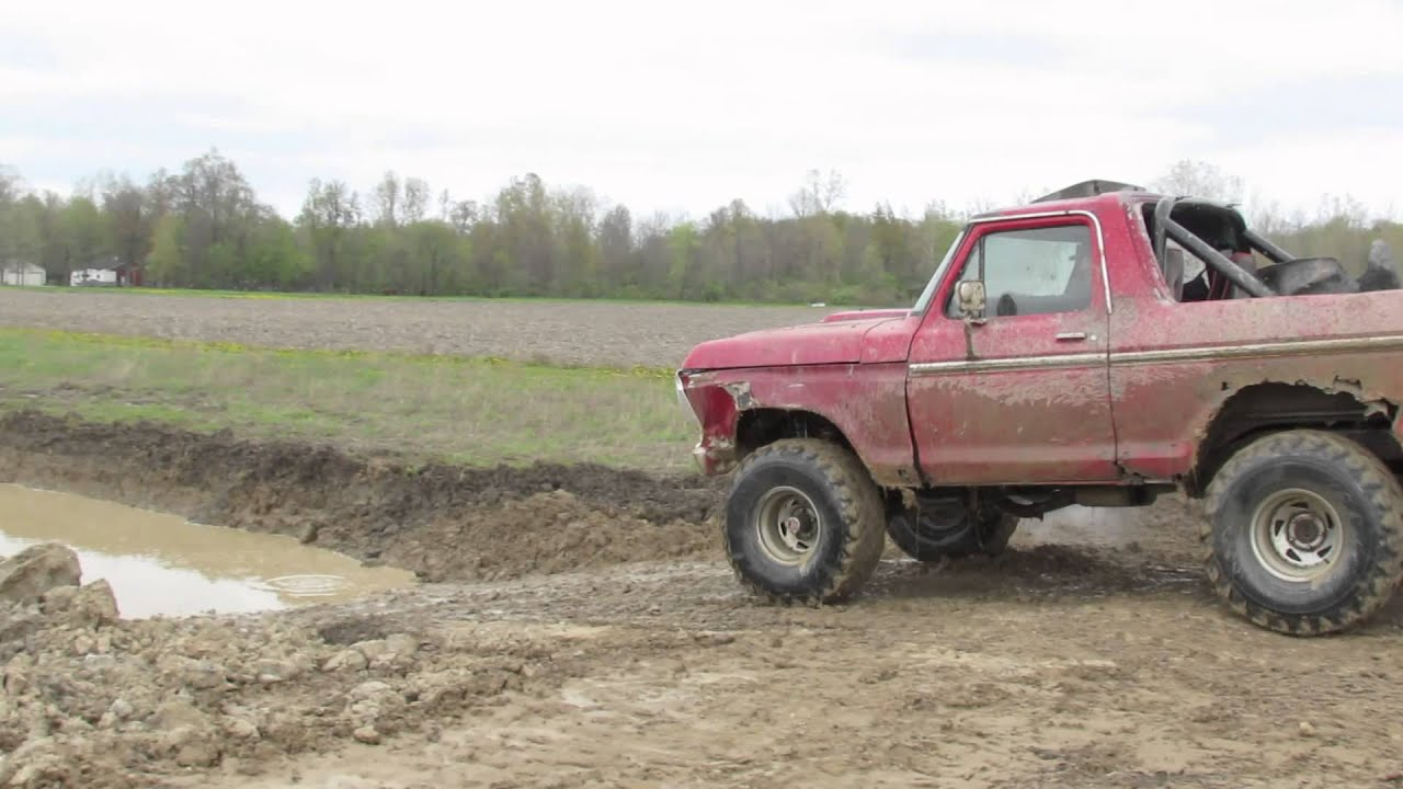 Old Ford Truck Mudding At Back 40 Hill And Hole