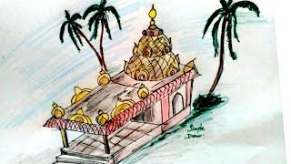 How to draw temple - easy drawing - step by step drawing of Hindu temple