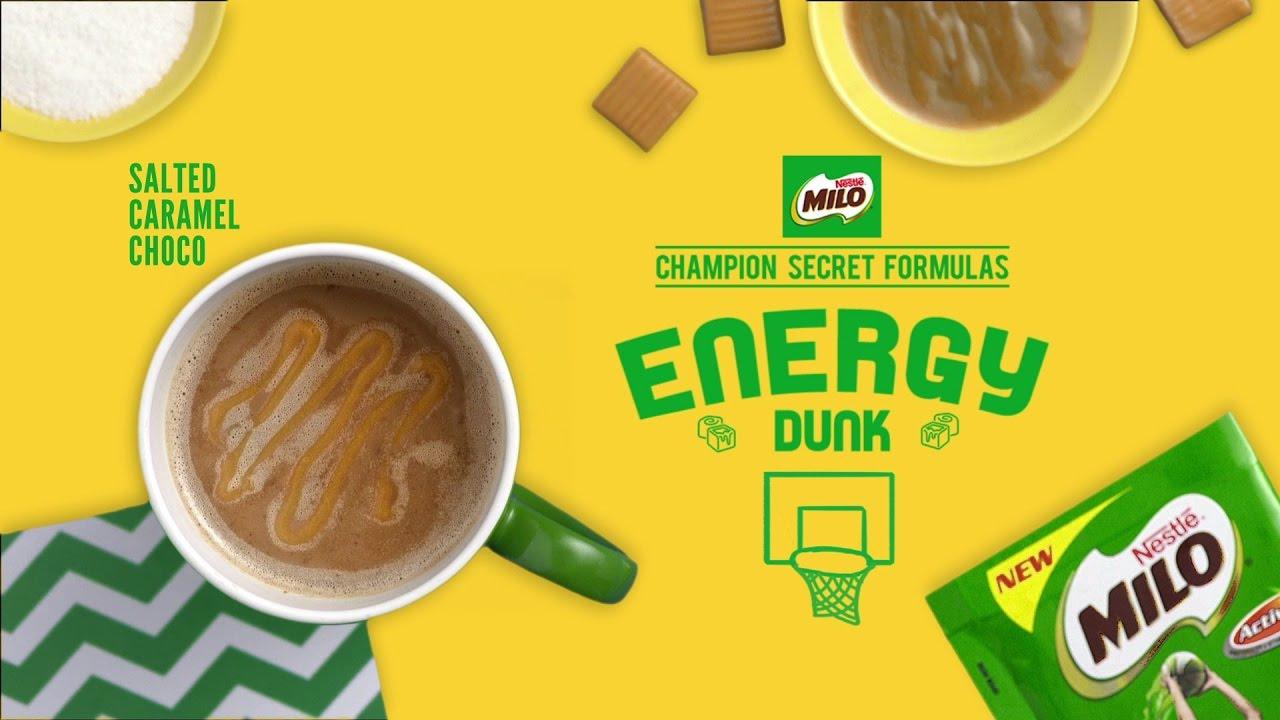 Milo Champion Secret Formula Energy Dunk Salted Caramel Sachet Nestl Ph Youtube