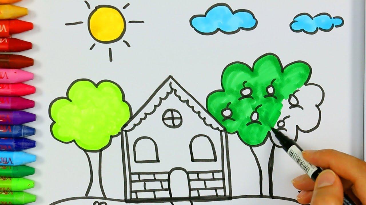 Ev ağaç bulut güneş nasıl çizilir - Çizelim Boyayalım