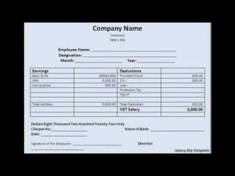 Basic Employee Salary slip Format template Excel YouTube – Employee Payment Slip Format