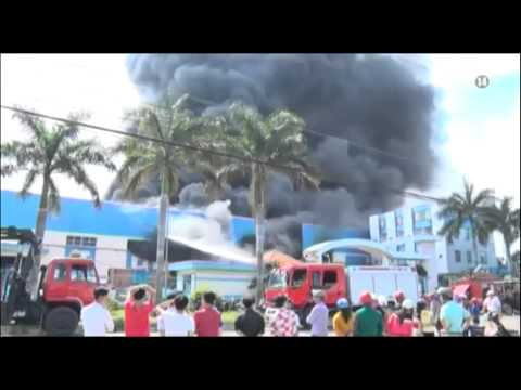 VTC14_Cháy lớn tại Khu công nghiệp Tân Đức, tỉnh Long An