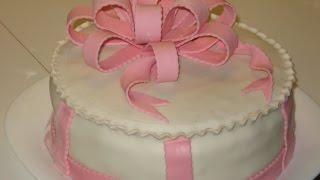 Как сделать оформление тортика объемным бантом из мастики