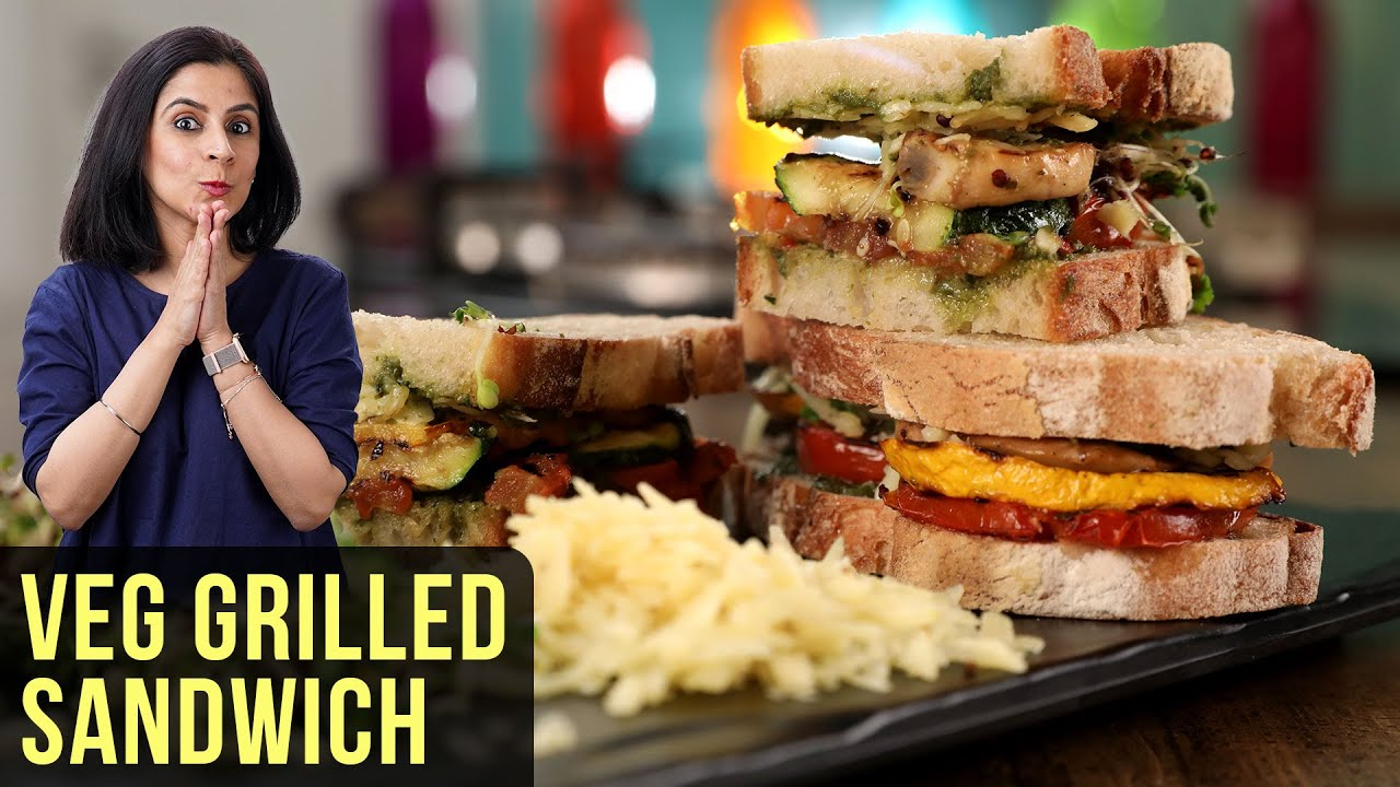 Veg Grilled Sandwich Recipe   How To Make Grilled Vegetable Sandwich   Sandwich Recipe By Tarika