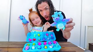 NEW PET HATCHIMALS! Adley and Dad Hatching Eggs Routine in the Backyard (Animal Doctor Pretend Play)