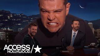 Matt damon crashes chris hemsworth's interview on 'jimmy kimmel live' | access hollywood