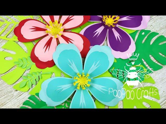 Mini Flor Hibisco | Moldes GRATIS | Flor Cayena | Flor Hawaiana | Hibiscus flower | Free templates