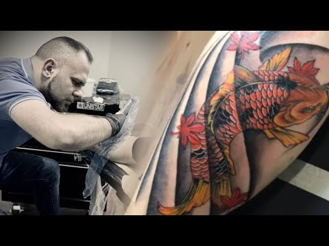 Aquarius Tattoo | Fish Koi | Time-lapse
