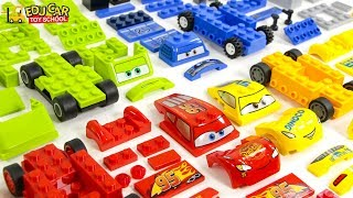 Learning Color Disney Cars Lightning McQueen mack truck and Lego Play for kids car toys