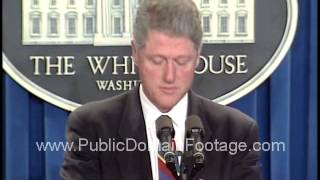 President Clinton statement on suspect in Oklahoma City bombing  April 21, 1995 archival footage