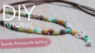 Sieraden maken met Kralenwinkel Online - Ketting van suede en amazoniet!