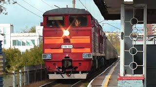 2ТЭ10У 0214 с пассажирским поездом Нижневартовск Пенза и электровоз ВЛ10 713 с хоппер дозаторами