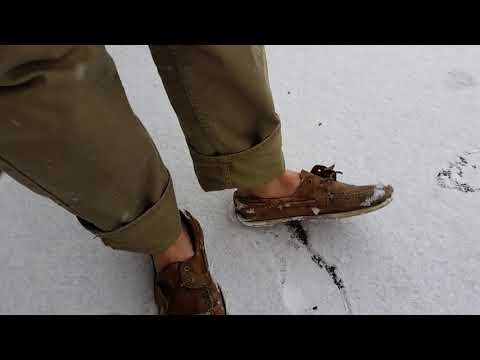 Enjoying The Snow In Trashed Sperry TopSiders Boat Shoes and Bare Feet!