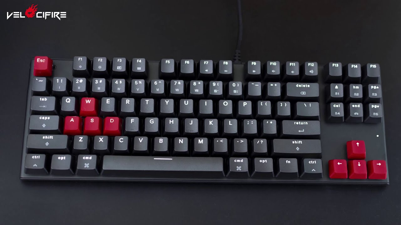 Velocifire M87 Mac layout Mechanical keyboard with O-rings and PBT keycaps  Demo