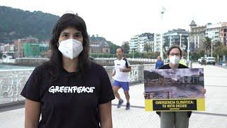 """Greenpeace pide a la ciudadanía vasca que """"piense en el planeta"""" a la hora de votar"""