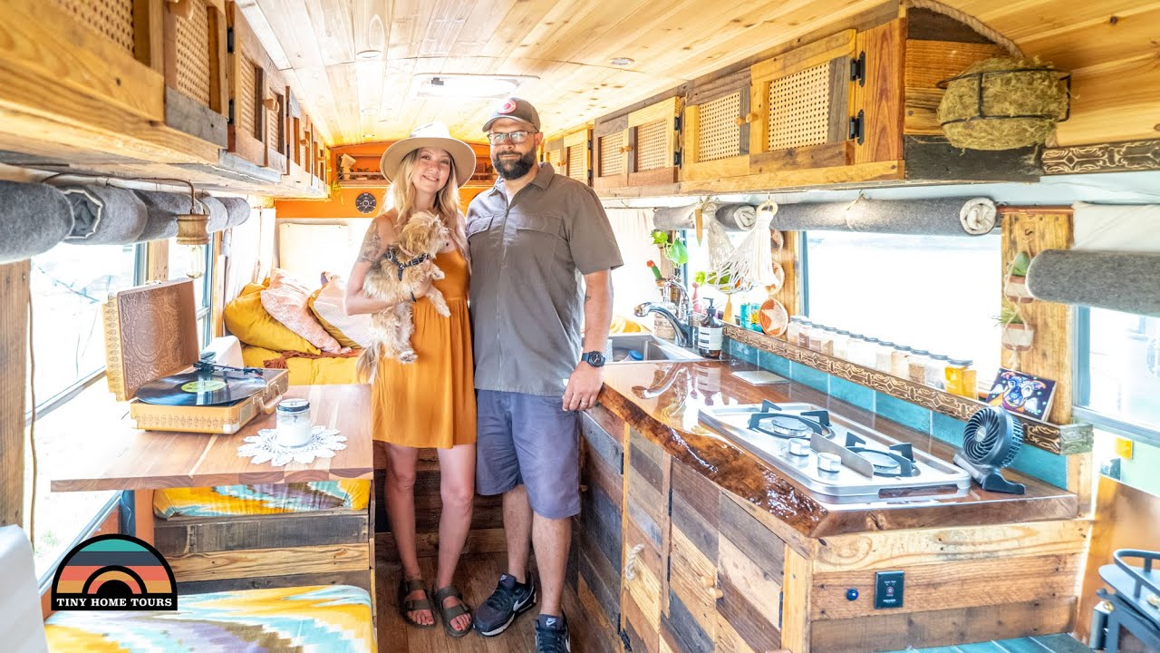 Couple's DIY $30k Short Bus Tiny House Tour - Leaving The 9-5 Grind