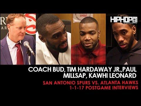 Coach Bud, Tim Hardaway Jr.,Paul Millsap, Kawhi Leonard (Spurs vs. Hawks 1-1-17 Postgame Interviews)