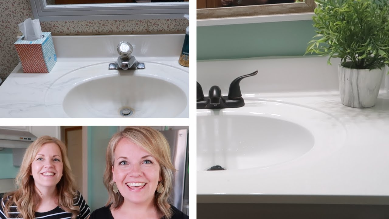 4 Vanity Top Spray Paint 90 Bathroom Makeover Awesome Before Afters Youtube