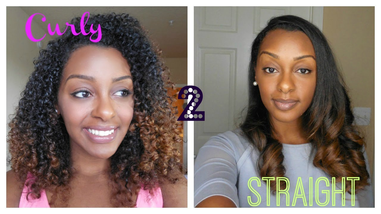 Curly To Straight Straightening Natural Hair Youtube