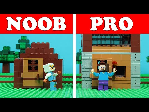 Lego Minecraft NOOB Vs PRO - First Night HOUSE Build Challenge - Animation