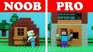lego-minecraft-noob-vs-pro-first-night-house-build-challenge-animation