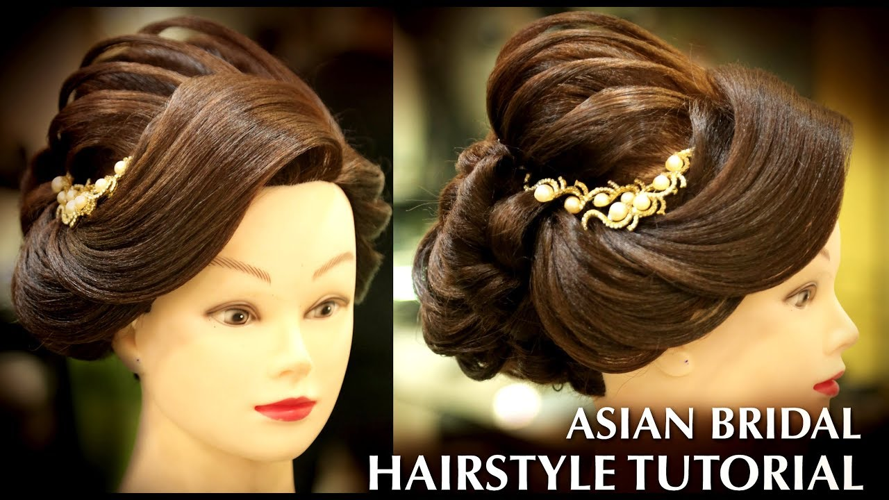 Asian Bridal Low Bun Hairstyle Tutorial Big Puff Step By Step How To Do Stylish Bun Hairstyle