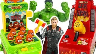 Let's play Whack-A-Mole game with Avengers Hulk, Thor! #DuDuPopTOY