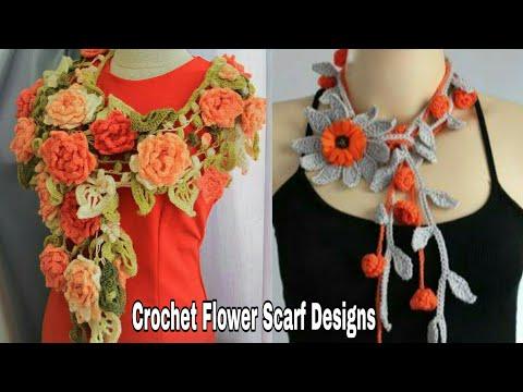 Stylish & Beautiful Crochet Flower Scarf Designs For Girls.