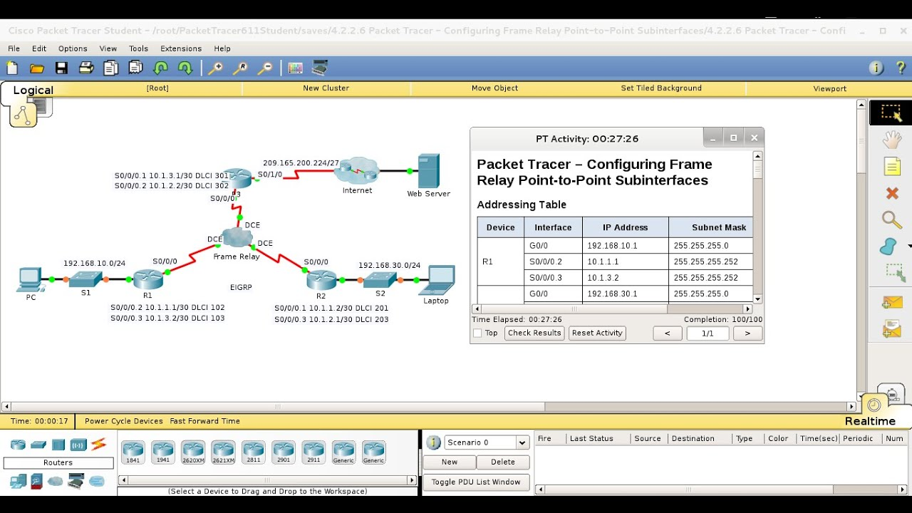 4.2.2.6 Packet Tracer Configuring Frame Relay Point to Point ...