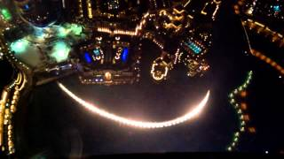 Dubai Dancing fountain from floor 124 Burj Khalifa Observation deck