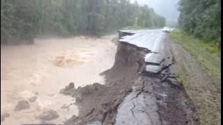 Трасса между Ковалерово и дальнегорском. Наводнение. Россия.