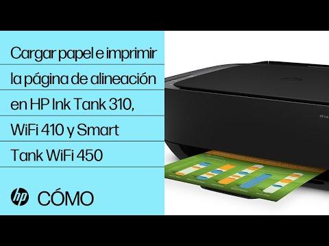 Cargar papel e imprimir la página de alineación en HP Ink Tank 310, WiFi 410 y Smart Tank WiFi 450