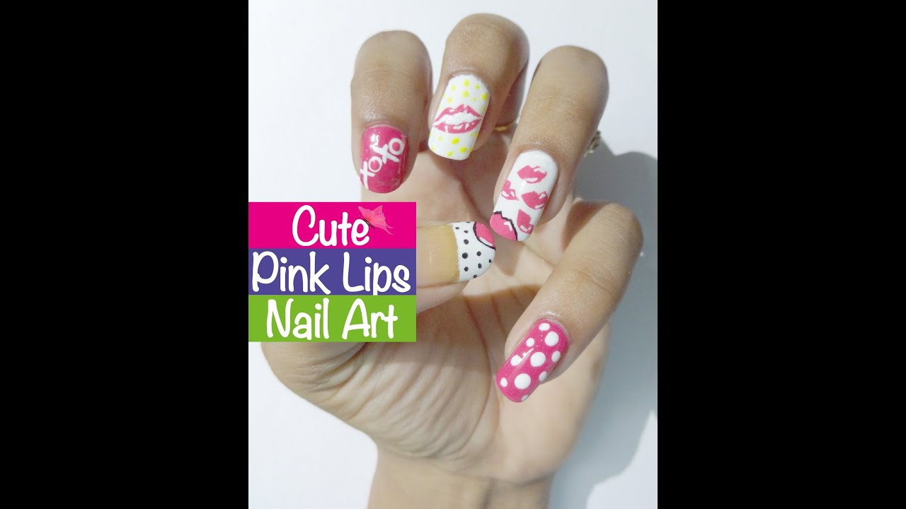 Pink Lips Cute Nail Art Tutorial Prachi Gajjar Youtube