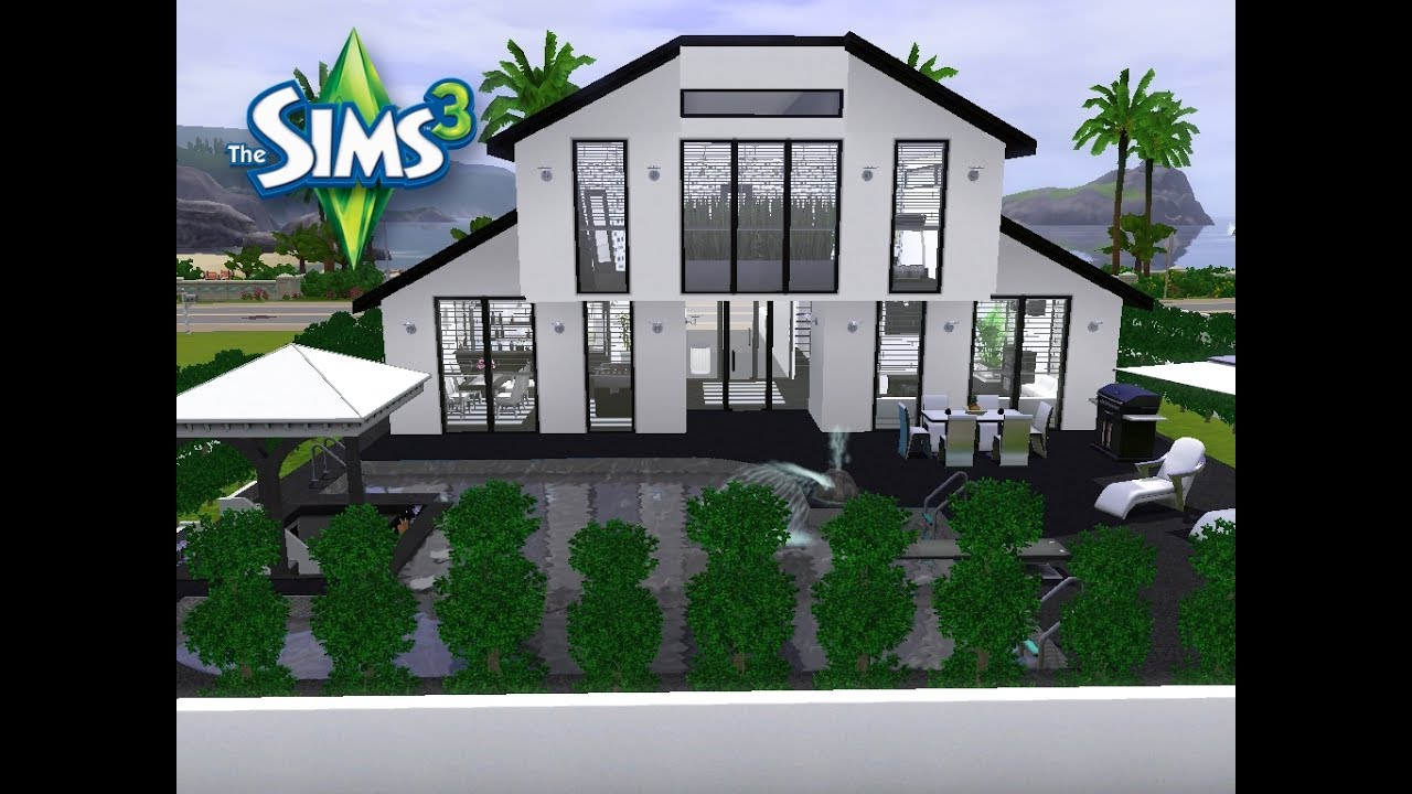sims 3 haus bauen let 39 s build schickes modernes haus auf kleinem grundst ck youtube. Black Bedroom Furniture Sets. Home Design Ideas