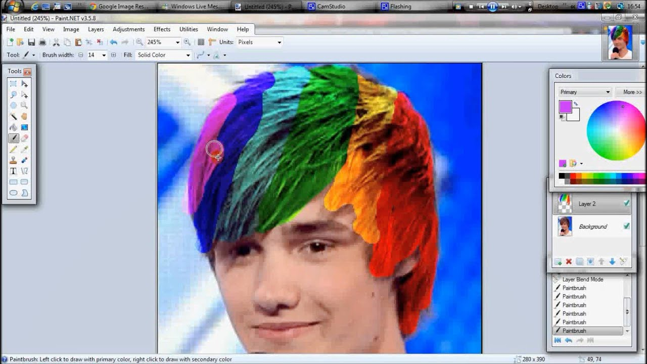 Change Hair Colour On Paint Youtube
