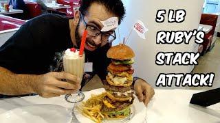 "5 Pound ""Stack Attack!"" Burger Challenge at Ruby's Diner w/ Jon Bello | Freak Eating"