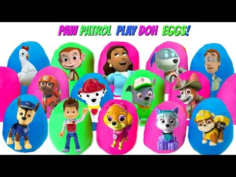 Best Learning Colors Video for Children with 15 Paw Patrol Play Doh Dough Eggs with Toys!