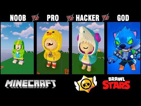 Minecraft Battle: NOOB Vs PRO Vs HACKER Vs GOD: Brawl Stars LEON Build Challenge In Minecraft